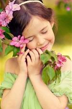 Infância, menina, sorria, como flores