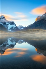 Preview iPhone wallpaper Chile, Patagonia, lake, water reflection, haze, Andes mountains, South America