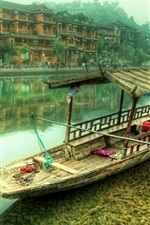 Preview iPhone wallpaper China, village, river, boat, houses, mountains, fog