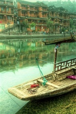 Preview iPhone wallpaper China, village, river, houses, boat, fog, morning