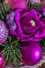 Christmas balls, candy, purple style