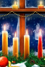 Preview iPhone wallpaper Christmas, window, candles, flame, spruce twigs, snow