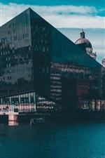 City, buildings, river, boats