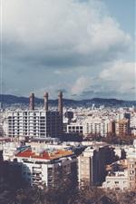 City, houses, buildings, sky, clouds