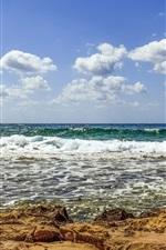 Preview iPhone wallpaper Coast, sea, foam, waves, sky, clouds