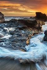 Preview iPhone wallpaper Coast, sea, rocks, clouds, dusk