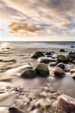 Preview iPhone wallpaper Cobblestone, sea, shore, clouds, sunset