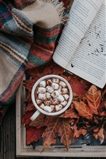 Preview iPhone wallpaper Coffee, cocoa, marshmallow, book, leaves, autumn