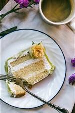 Coffee, cup, cake, flowers, breakfast