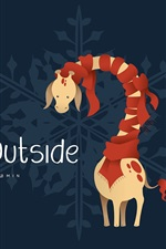 Preview iPhone wallpaper Cold Outside, giraffe, scarf