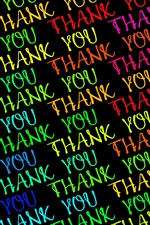 Preview iPhone wallpaper Colorful Thank You text