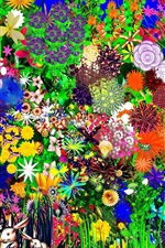 Preview iPhone wallpaper Colorful flowers, rabbit, abstract design
