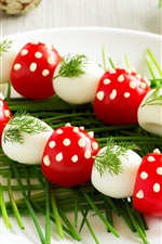 Preview iPhone wallpaper Colorful food, quail eggs, tomatoes