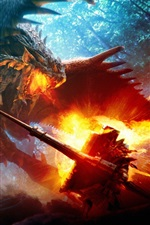 Preview iPhone wallpaper Combat, dragon, fire, art picture