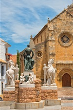 Preview iPhone wallpaper Cordoba, Spain, church, houses, statues, sky