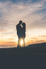 Preview iPhone wallpaper Couple at sunset, love, tenderness