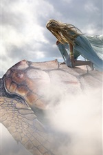 Preview iPhone wallpaper Creative picture, girl, turtle, flight, clouds