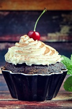Cupcake, cream, cherry, food