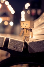 Preview iPhone wallpaper Danbo, bench, night