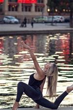 Dance girl, river, city