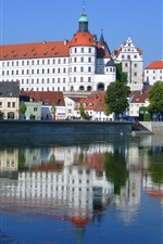 Danube, Germany, castle, promenade, river