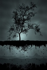 Preview iPhone wallpaper Dark night, tree, flight, mountains, creative picture