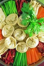 Preview iPhone wallpaper Delicious dish, dumplings, vegetables