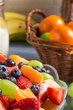 Delicious fruit salad, strawberry, grape, blueberry