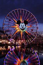 Preview iPhone wallpaper Disney California Adventure, Paradise Pier, roller coaster, ferris wheel, night