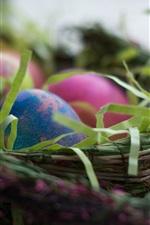 iPhone обои Пасхальные яйца, корзина, праздник