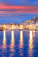 Preview iPhone wallpaper Eivissa, Spain, pier, yacht, bay, sea, houses, lights, night