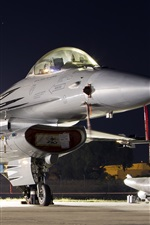 Preview iPhone wallpaper F-16AM Falcon fighter, multipurpose, night, lights