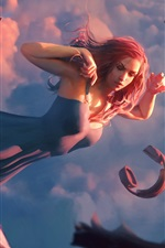 Preview iPhone wallpaper Fantasy girl flight, book, headphone, sky, clouds, art picture