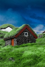 Preview iPhone wallpaper Faroe Islands, slope, houses, grass, stones, Denmark