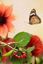 Preview iPhone wallpaper Flowers, cherry, grape, butterfly, collage