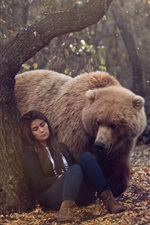 Preview iPhone wallpaper Forest, brown bear look at sleeping girl