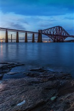 Preview iPhone wallpaper Forth Rail Bridge, Scotland, evening, river, sunset