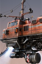 Preview iPhone wallpaper Freight train, flighting, art design