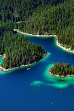 iPhone fondos de pantalla Garmisch-Partenkirchen, Alemania, árboles, isla, lago