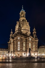 Preview iPhone wallpaper Germany, Dresden, night, lights, square, buildings