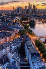 Germany, Frankfurt, river, bridge, city, dusk, lights