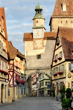 Preview iPhone wallpaper Germany, Rothenburg, street, tower, city