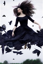 Preview iPhone wallpaper Girl and crows, creative picture