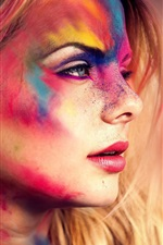 Preview iPhone wallpaper Girl face, festival, colorful makeup