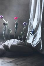 iPhone обои Девушка, цветы, назад, творческая фотография