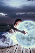 Preview iPhone wallpaper Girl hug moon to sleep, art photography