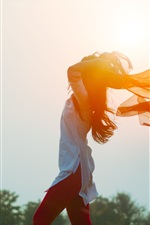 Preview iPhone wallpaper Girl in the wind, shawl, sun