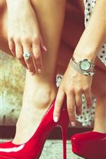 Preview iPhone wallpaper Girl legs, heels, hands