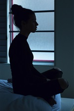 Girl silhouette, room, darkness