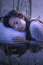 Preview iPhone wallpaper Girl sleep in the lake, water, grass